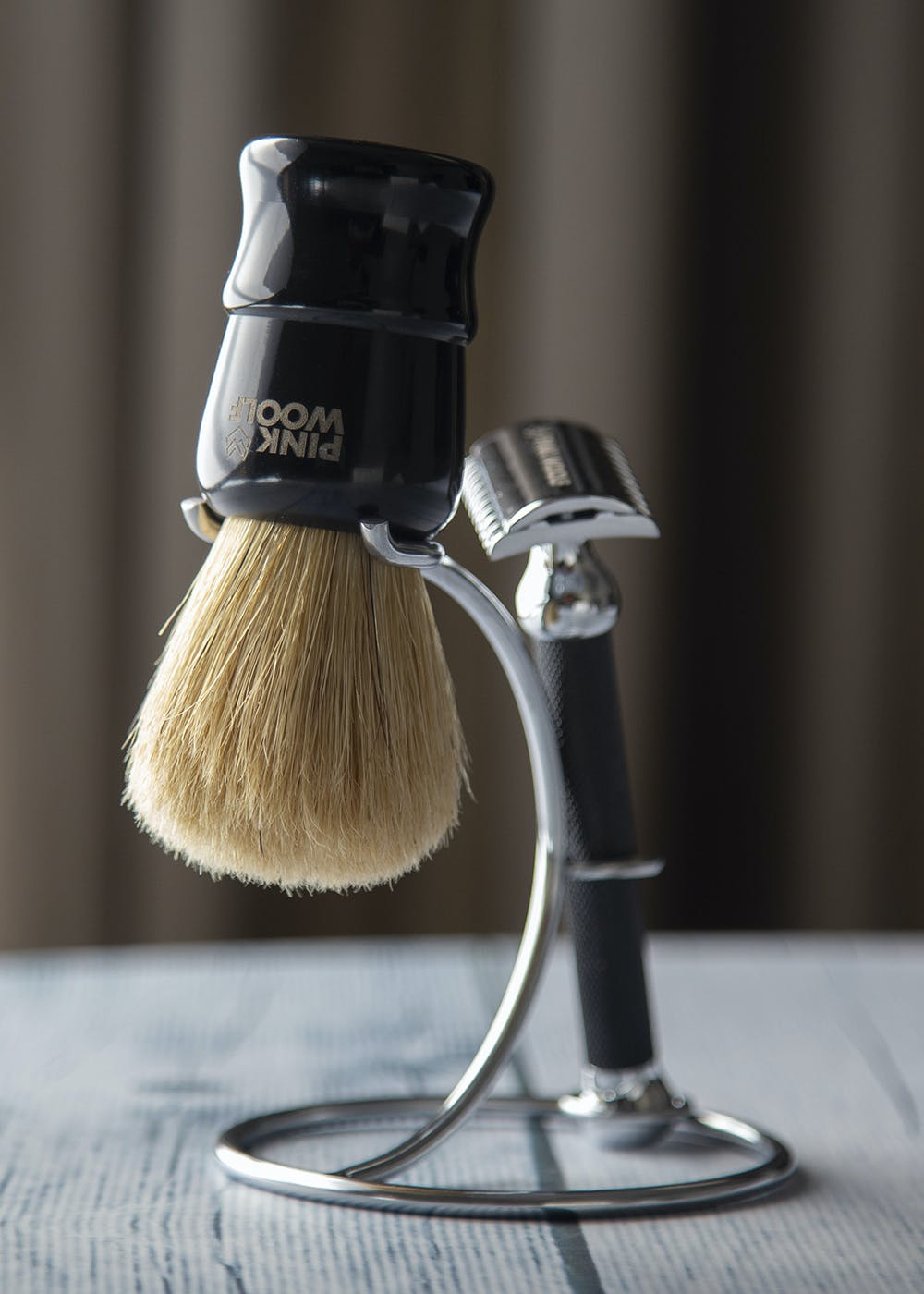 Shaving Brush and Safety Razor Stand for Bathroom – Aluminum with Nickel Finish
