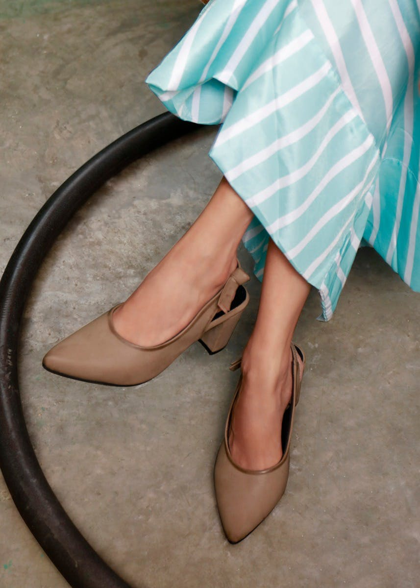 Handcrafted Drawstring Closure Block Heels