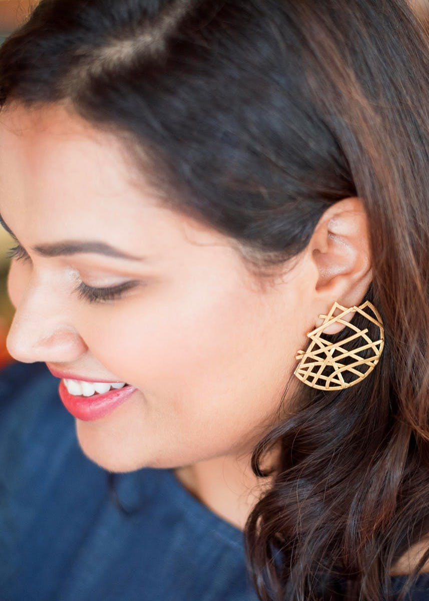 Gold-Plated Criss-Cross Statement Earrings