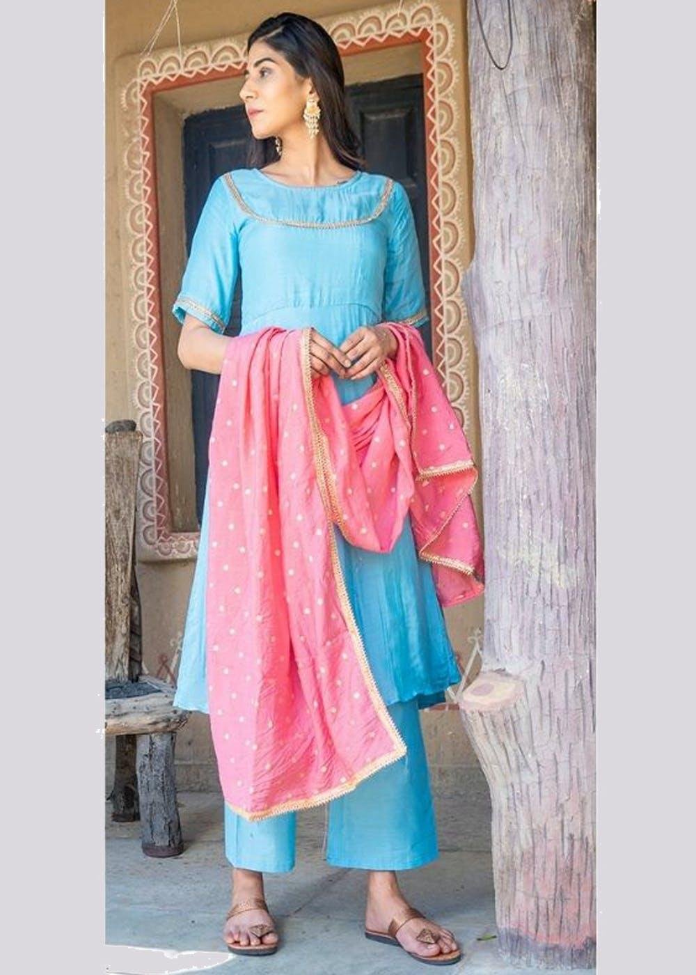 Gota Detail Sky Blue Kurta, Pants With Pink Dupatta Set