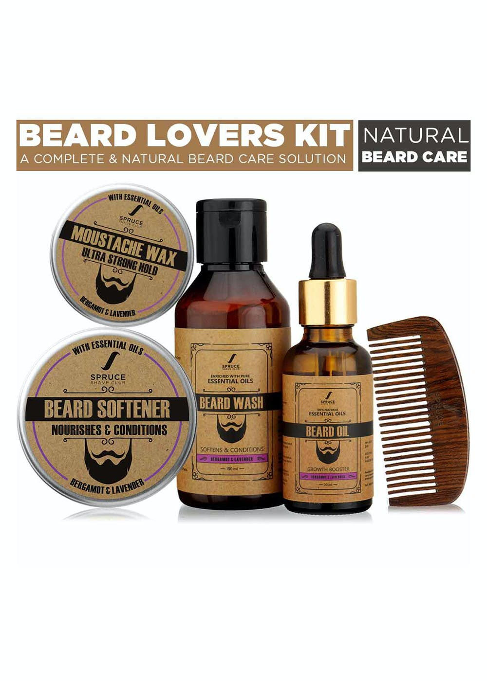 Beard Lovers Kit | Oil, Wash, Wax, Softener, Comb | Bergamot & Lavender