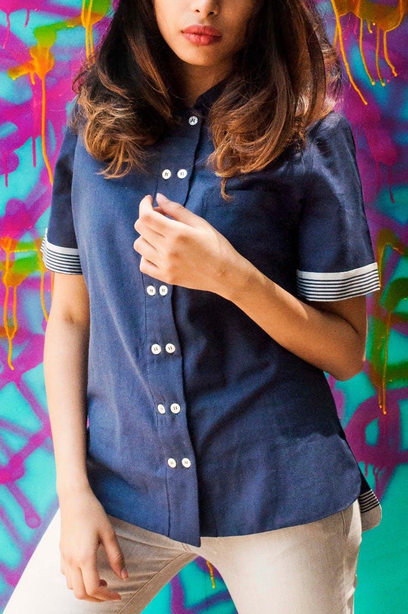 Double Button Solid Blue Shirt