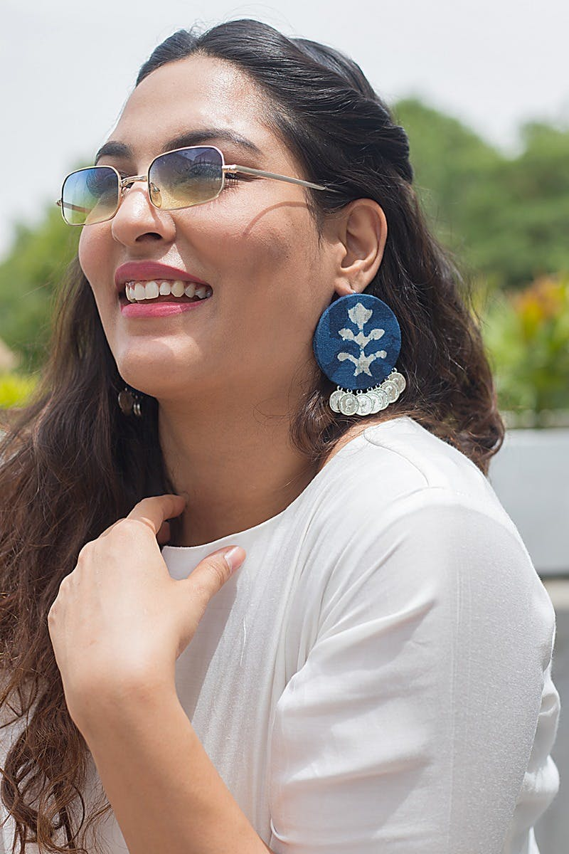 Coin Drop Indigo Round Earrings