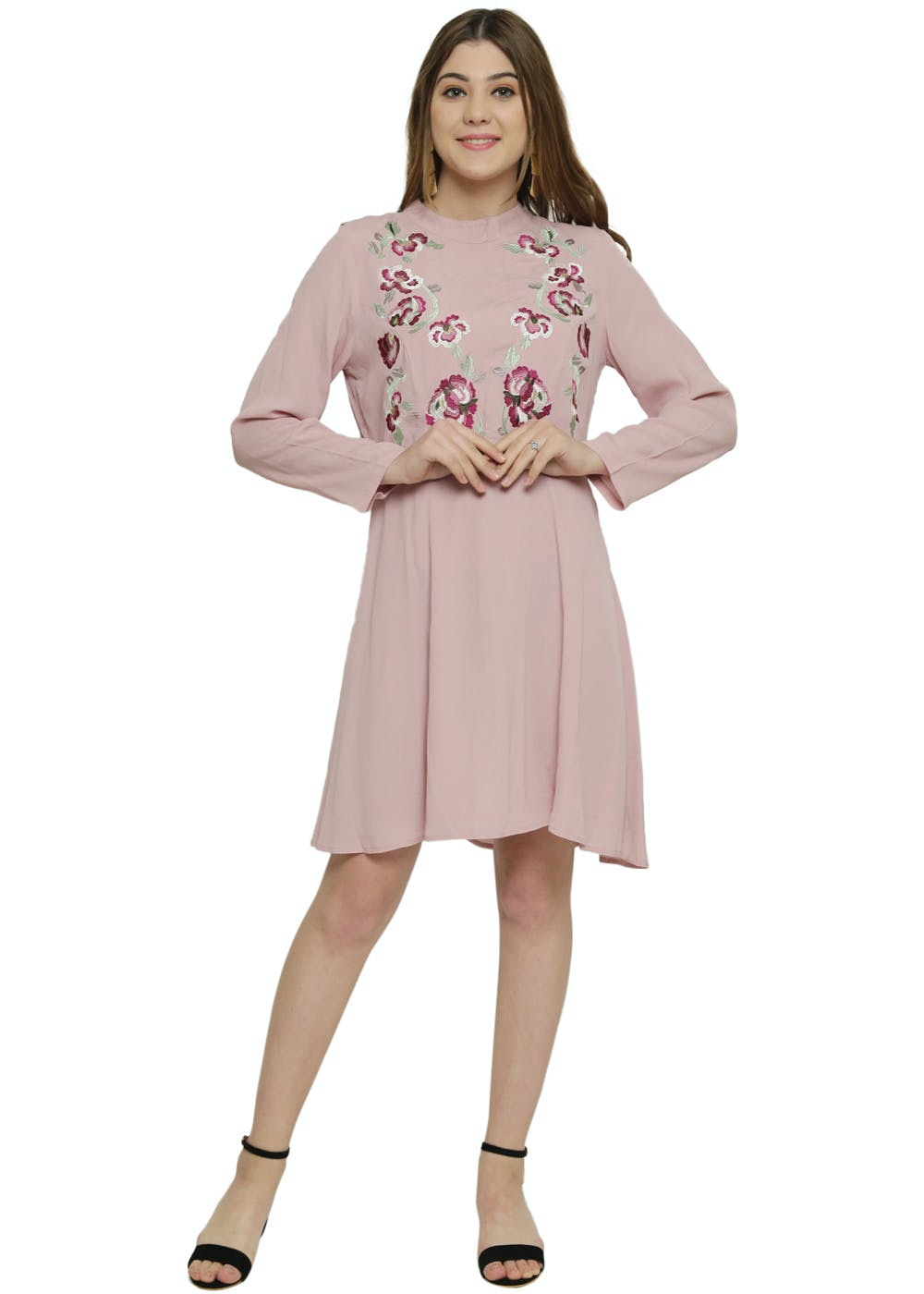 Contrast Floral Embroidered Peach Fit & Flare Dress