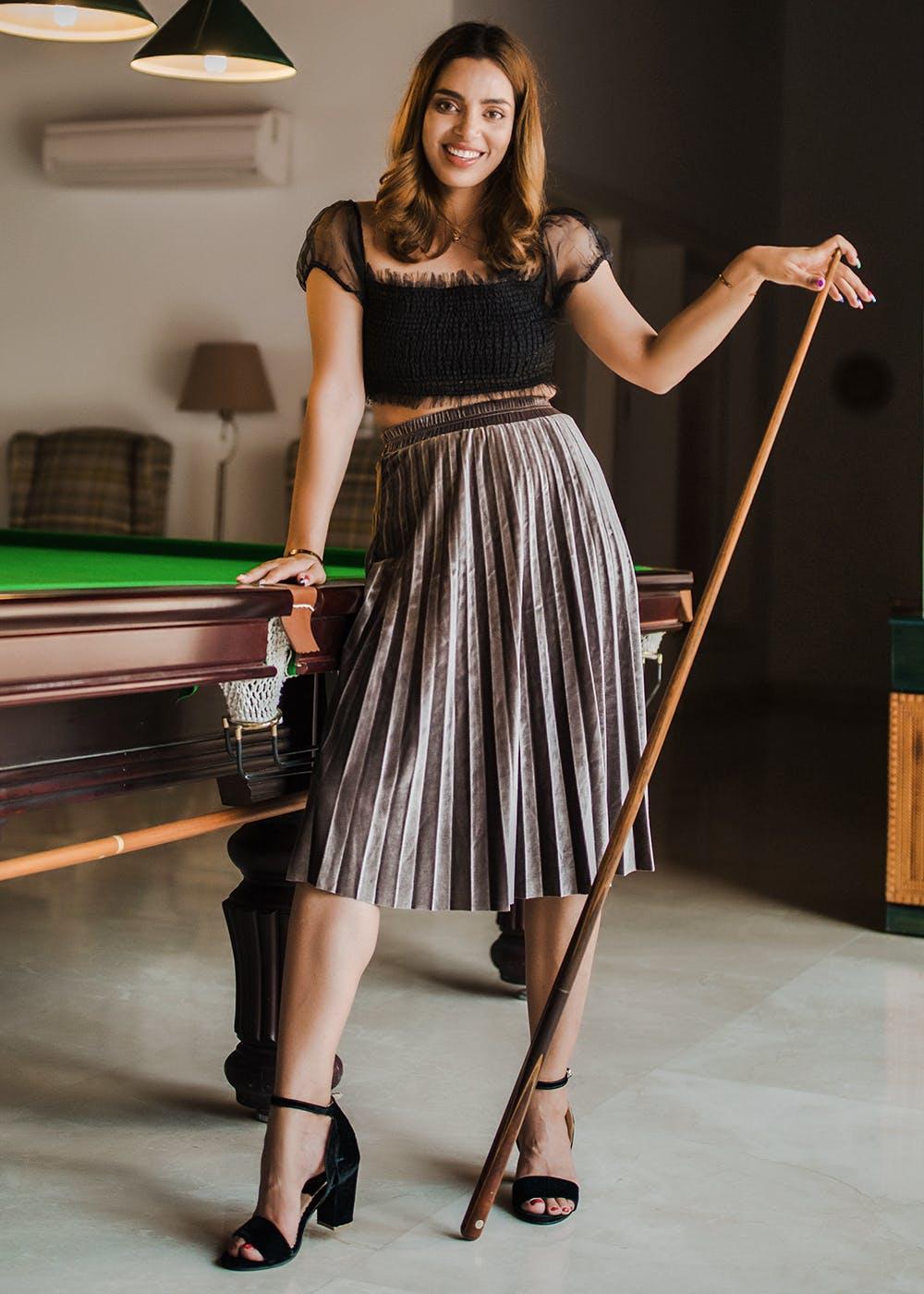 Velvet Grey Pleated Long Skirt