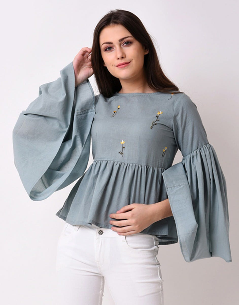 Gathered Waist Bell Sleeves Top