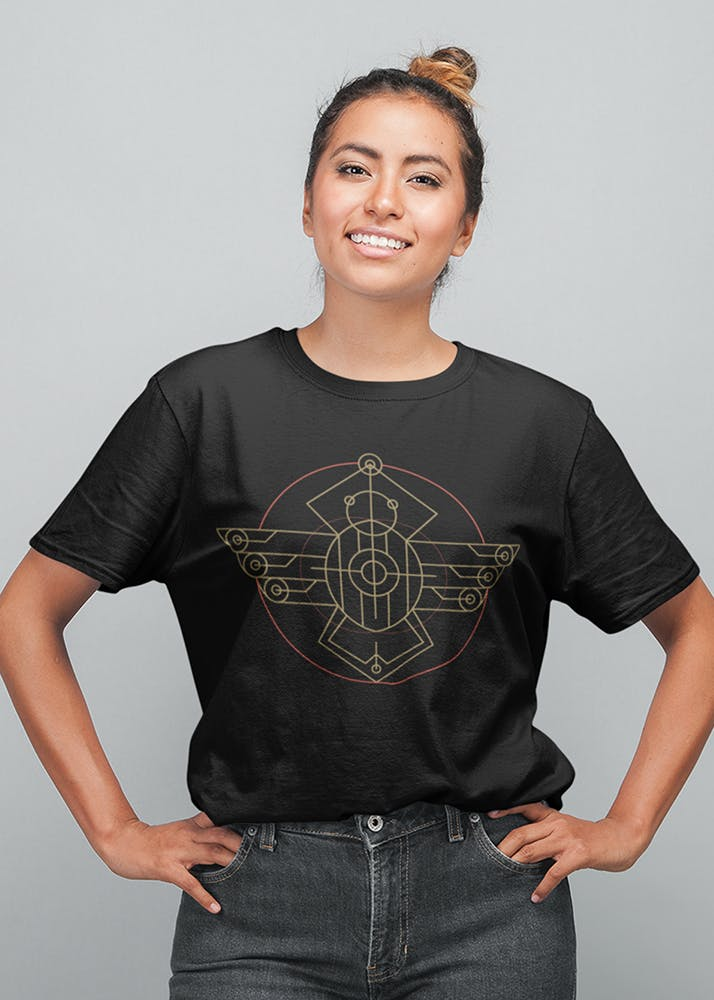 Egyptian Scarab Graphic Round Neck T-Shirt