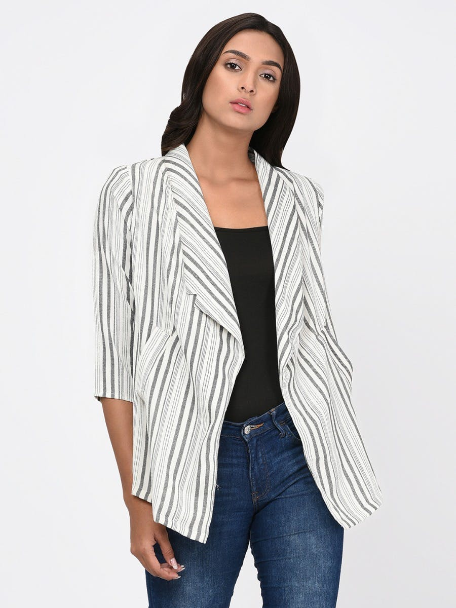 Grey Stripes Waterfall Front Jacket