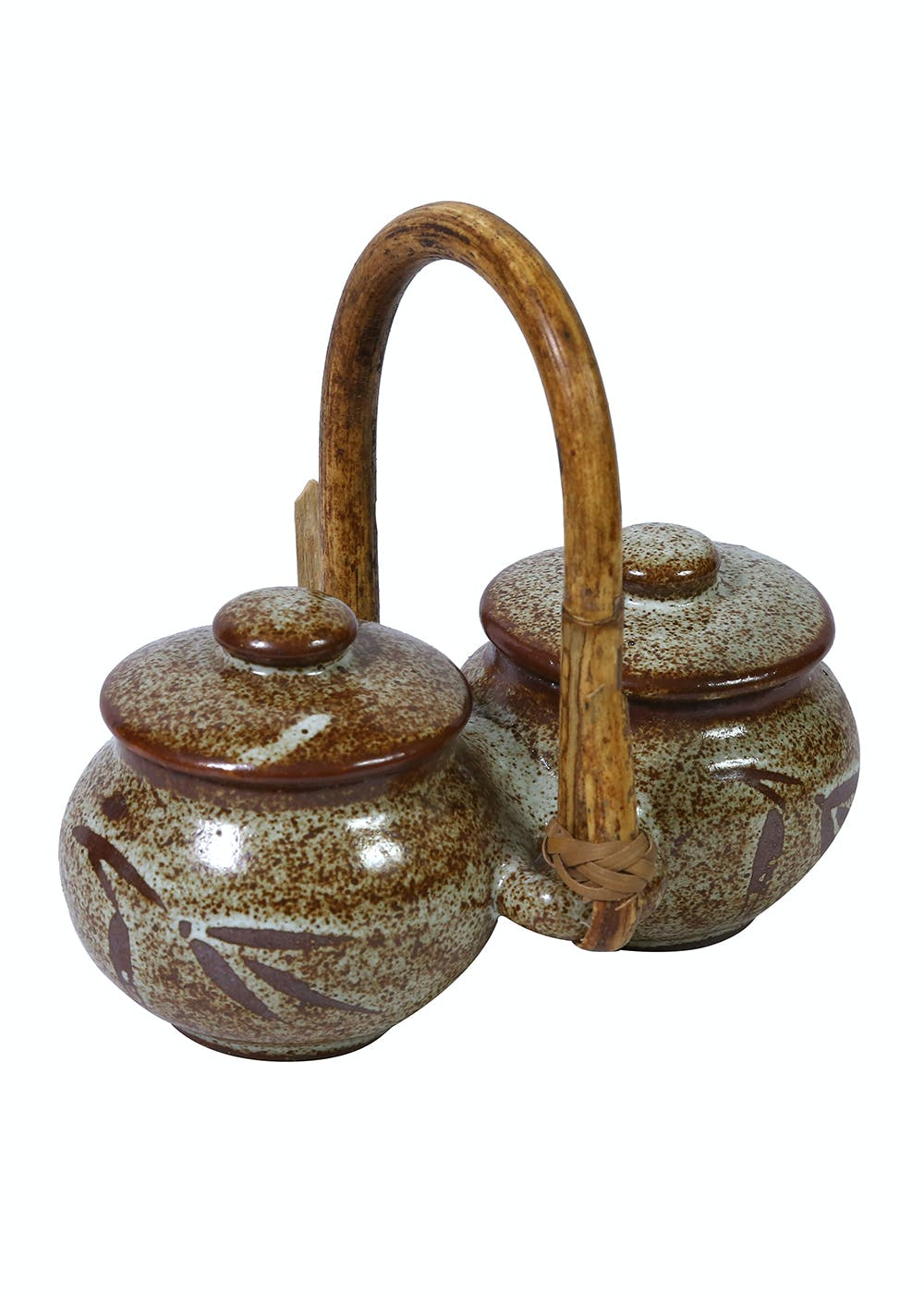 Studio Pottery Beige Pickle Set With Cane Handle From Pondicherry